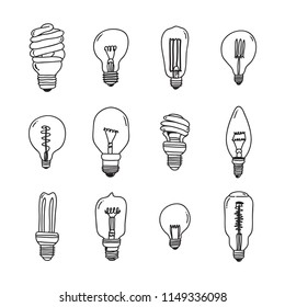 Hand drawn light bulbs set, Flat style vector illustration.