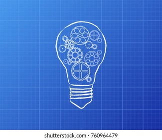 Hand drawn lightbulb with gears in it on blueprint background