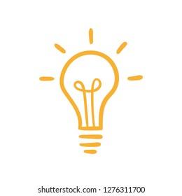 Hand drawn lightbulb, symbol of idea and creativity