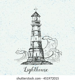 Hand drawn lighthouse with sea waves. Vector illustration isolated on vintage background. Detailed drawing in line art graphic style. Tattoo sketch, textile print, brochure, card design.