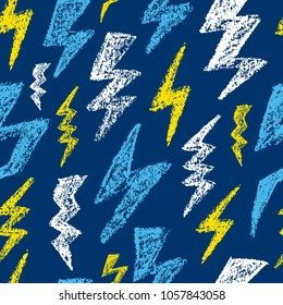 Hand drawn Lightning bolt seamless pattern. Black and white. Fashion design texture for textile. Vector illustration.