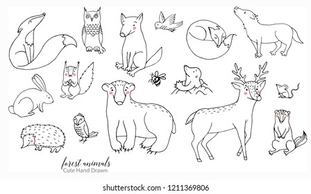 Hand drawn line art cartoon doodle animal set in vector. Forest animal illustrations isolated on the white background