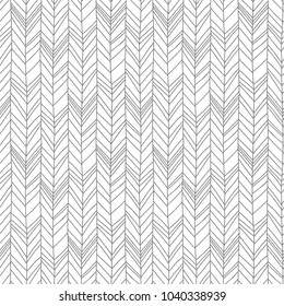 Hand drawn line art creative herringbone pattern, perfectly seamless composition for print or textile. Monochrome colors vector.