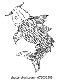 Hand drawn line art of fish (Koi carp). Vector isolated. Idea for tattoo and coloring books.