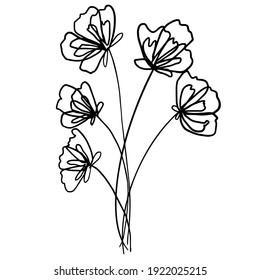 Hand Drawn Line art flowers. Sketch