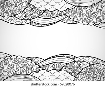 Hand drawn line art frame.