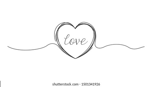 Hand drawn line art Heart. Valentines day symbol. Vector
