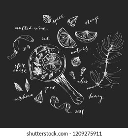Hand drawn line art sketch of mulled wine recipe and ingredients. Hot drink laddle, spices, orange wedge and zest, nutmeg, clove, cardamon.