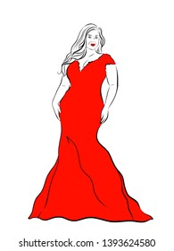 Hand drawn line art sketch silhouette big fat lady in red large extra size dress.