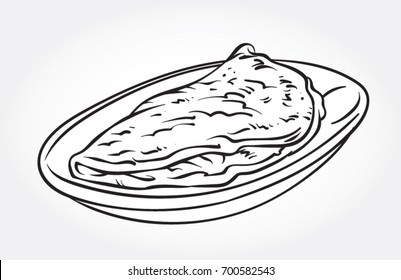 Hand drawn line art vector illustration of an Omelette in a plate.