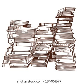 Hand drawn line artwork  of piles of books