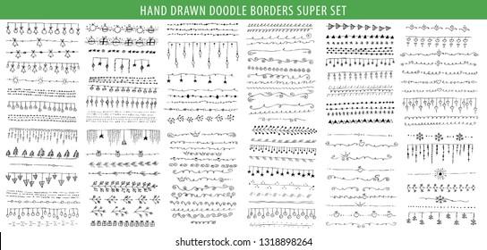 Hand drawn line, border, frame vector design element big set. Template for invitation or greeting card.