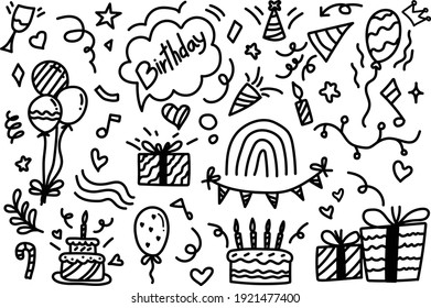 Hand drawn line drawing about birthday.