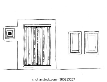 Hand drawn line drawing of Mediterranean style house front