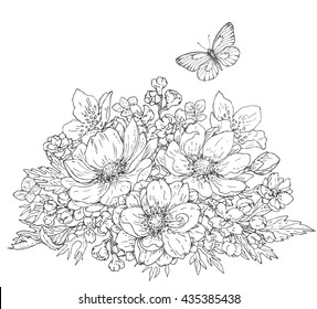 Hand drawn line illustration of flowers bunch and flying butterfly. Black and white doodle  bouquet with anemones. Monochrome floral elements for coloring. Vector sketch.