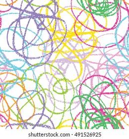 Hand drawn line seamless pattern. Doodle design element. Scribble line.