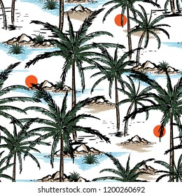 Hand drawn and line sketch summer island ,beach and palm trees seamless pattern vector design for fashion,fabric,wallpaper and all prints on white background color