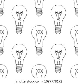 Hand drawn linear light bulb vector pattern. Doodle vintage lightbulb  seamless background.