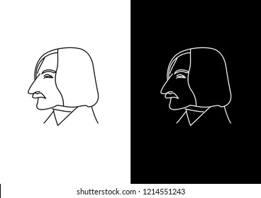 Hand drawn linear portrait of russian and ukrainian dramatist Nikolai Gogol. Profile face view. Vector illustration on black and white background. Logo, symbol, sign, icon in flat style