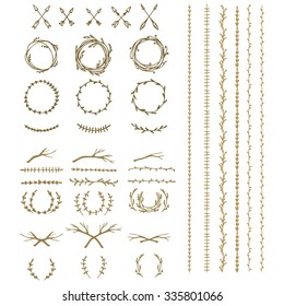 Hand drawn lineart illustration. Vintage decorative boho set of laurels, branches, twigs, and wreaths. Doodle greek ancient wreath, dividers and leaf borders with laurel leaves, design elements vector