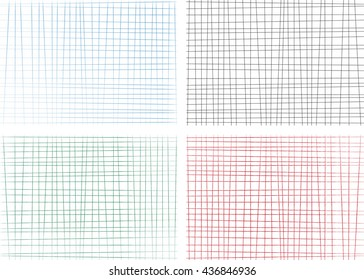 Hand drawn lines background set. Vector illustration