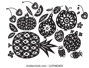 Hand drawn linocut or cutout style fruits and berries isolated on background. Unique creative design for packaging, cooking book, stickers.