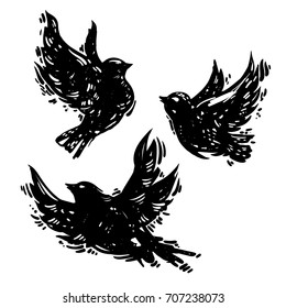 Hand drawn linocut style trendy and expressive vector set of flying birds. Ink, grunge illustration of dove silhouette isolated on white background. Bird sketches collection