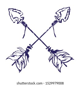 Hand Drawn Linocut Vector Illustration. Craft logo details: Old Native American arrow with stone tip and feathers.