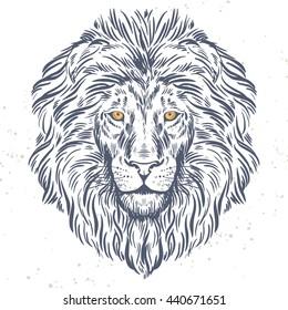 Hand drawn lion head illustration. Vector illustration