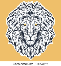 Hand drawn lion head isolated. Banner, poster, card, t-shirt design template. Vector illustration