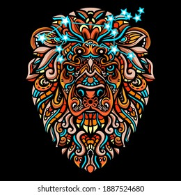 Hand drawn of Lion head zentangle arts . vector illustration