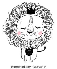 hand drawn lion illustration vector.