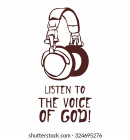 Hand drawn. Listen to the voice  of God