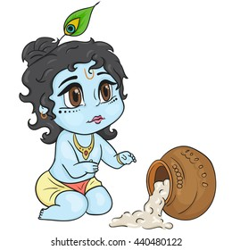 Hand drawn little baby god Krishna in the anime style. With a pot of porridge in honor of janmashtami. Cute baby blue with black hair and brown eyes from India