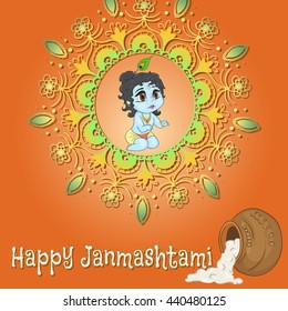 Hand drawn little baby god Krishna in anime style. With a pot of porridge with mandala  words happy janmashtami. Cute baby blue with black hair and brown eyes from India on orange gradient background