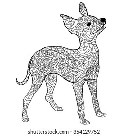 Hand Drawn Little Dog Isolated On Transparent Background Anti Stress Coloring Page Vector Monochrome