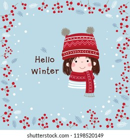 Hand drawn little girl with winter background. Christmas and New Year card.