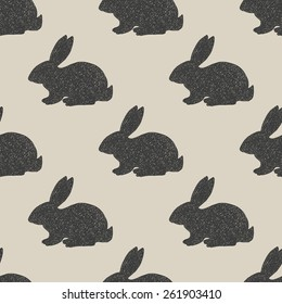 Hand drawn little hares pattern in vintage style