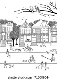 Hand drawn little people walking their dogs on leashes through the street, black and white illustration