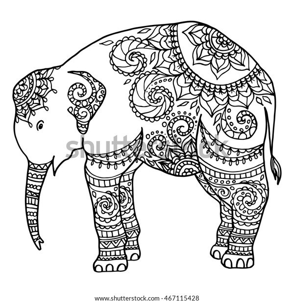 Elephants - Coloring Pages for Adults | 620x600