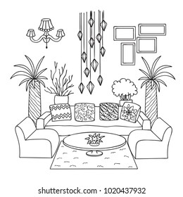 Interior Design Coloring Pages Images, Stock Photos