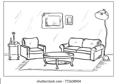 Hand drawn living room interior sketch design. Vector illustration