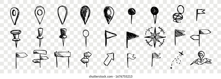 Hand drawn logistic navigation icons, doodle set collection. Hand drawn marks, pointers, compasses, flags. Sketches of different direction symbols on transparent background. Map and road navigation