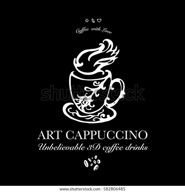 Hand drawn logo for cafe or coffee outlet offering 3d coffee drinks. Vector Illustration