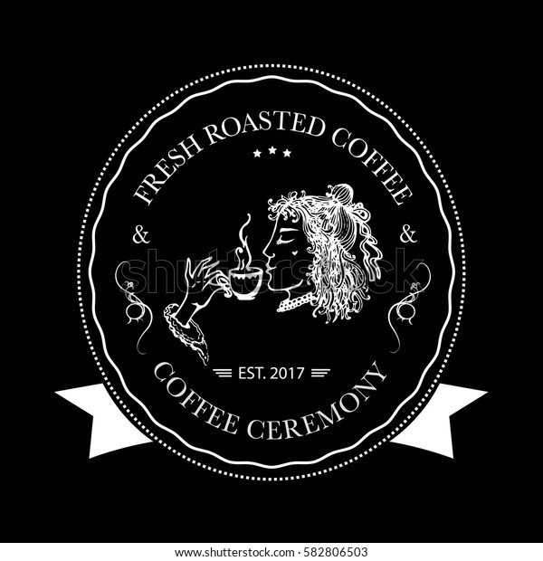 Hand drawn logo for cafe, coffee outlet or coffee company with elegant lady holding coffee cup. Vector Illustration
