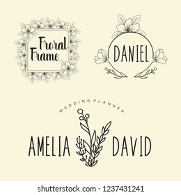 Hand drawn logo collection. Logo design with flowers and beautiful fonts. For designers, florists, Wedding Planner, photographers and other creative professions