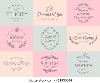 Hand drawn logo collection. Logo design with flowers and beautiful fonts. For designers, florists, photographers and other creative professions