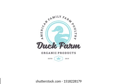 Hand drawn logo poultry duck silhouette and modern vintage typography retro style vector illustration. Duck bird logotype for farm meat market packaging and restaurant menu decoration.