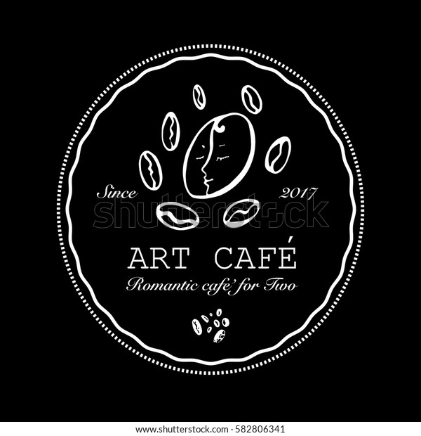 Hand drawn logo for romantic art cafe with coffee beans. Vector Illustration