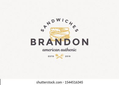 Hand drawn logo sandwich silhouette and modern vintage typography hand drawn style vector illustration. Fast food label for packaging and restaurant menu decoration.